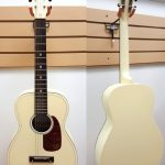 Gretsch Limited Edition parlor guitar, Jim Dandy series, 12-fret neck joint, Vintage White, model  G9500-VWT-LTD, for sale in Vancouver Canada at Basone