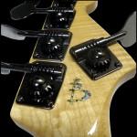 Back of Headstock closeup, 5-string 24-fret bass guitar