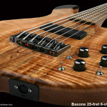 Handcrafted 6-string Bass Guitar, 25-fret, bottom of body detail shot