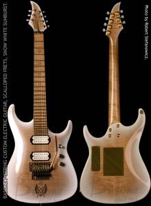 Custom 7-string guitar, carved Maple top and back, Mahogany center, Maple fingerboard, gold hardware. Snow white sunburst finish