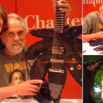 Chong from Cheech and Chong autographed Chris Bas's handmade pot leaf electric guitar in 2005. The instrument was sold to someone in Amsterdam.