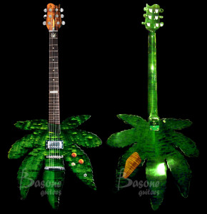Marijuana leaf shaped electric guitar, handcrafted by Chris Bas at Basone Guitars in Gastown Vancouver