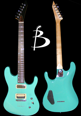 Custom strat shaped guitar, seafoam green finish, Dimarzio mini humbucker