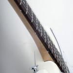 Three-quarter size guitar, strat shaped body, maple neck