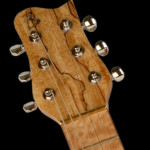Custom Slide Guitar, Spalted Maple headstock veneer close up