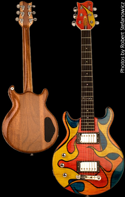 Three-quarter size electric guitar, flame maple top with trans-multi-color artwork, mahogany back. Photo by Robert Stefanowicz.