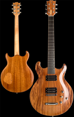 Phoenix handcrafted guitar, Carved double cut-away solid bookmatched Honduran Mahogany body with Brazilian Angico top. Natural finish. Photo by Robert Stefanowicz