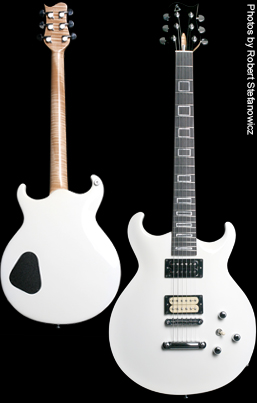 Phoenix handcrafted carved top guitar, white finish, front and back picture. Photo by Robert Stefanowicz