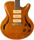 Carved single cut-away Chambered bookmatched Honduran Mahogany body. Flamed Maple top featuring custom f-hole. Trans Gold finish, Natural binding.