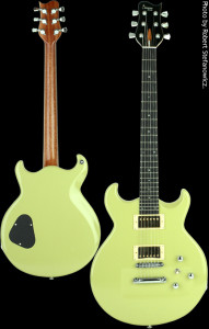 Flat top custom guitar, Basswood body, Vintage Cadillac Green finish. Clone model