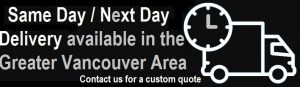 Same day or Next day delivery available in the Greater Vancouver area for sales and guitar repair services. Contact us for a custom quote.