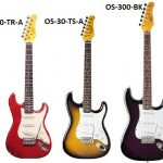 Oscar Schmidt Strat style electric guitars, full size OS-300 and 3/4 size OS-30 , for sale in Vancouver Canada at Basone
