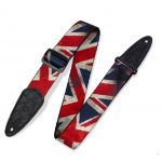 Levy's 2″ Polyester Guitar Strap With Sublimation Printed UK Flag Design, Genuine Leather Ends And Tri-glide Adjustment. Adjustable To 65″ MDP-UK