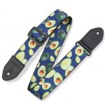 Levy's 2″ Print Guitar Strap on Polyester with Suede Leather Ends. Fruit Salad Avocado print. Black Plastic Slide And Suede Ends. Adjustable From 35″to 60″. MP2FS-004