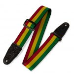 Levy's 2″ Sublimation Printed Guitar Strap With Leather Ends. Tri-glide Adjustable To 65″ GREEN-YELLOW-RED MPD2-102