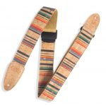 Levy's 2 inch Cork Guitar Strap With Nantucket Pattern on Tan Cotton Webbing with Two-Ply Natural Cork Ends and Black Plastic Slide and Loop Adjustment. Adjustable from 35 to 60 inches. MX8-003