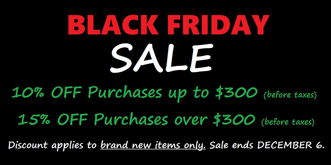 Black Friday Sale at Basone Guitar Shop in Vancouver and Squamish BC Canada. Discount does NOT apply to used items or repair services. Limited time offer.