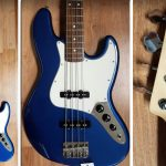 Fender Jazz Bass blue finish, lightly used, for sale in Vancouver Canada at Basone