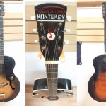 "1957 Harmony Monterey H950 Archtop Acoustic Guitar, made in the USA. Sunburst finish, vintage white binding, black pickguard with ""M"" logo. For sale in Vancouver Canada at Basone"