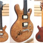 Basone Custom Guitar, Quilted Maple top, Mahogany body, skateboarder body inlay, abalone logo fingerboard inlay, handcrafted in Vancouver Canada, for sale in Van and Squamish at Basone