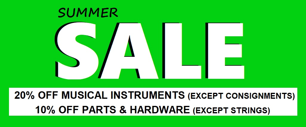 Summer SALE at Basone Guitar Shop. 20% OFF Musical instruments (Except Consignments) and 10% OFF Parts & Hardware (Except Strings)